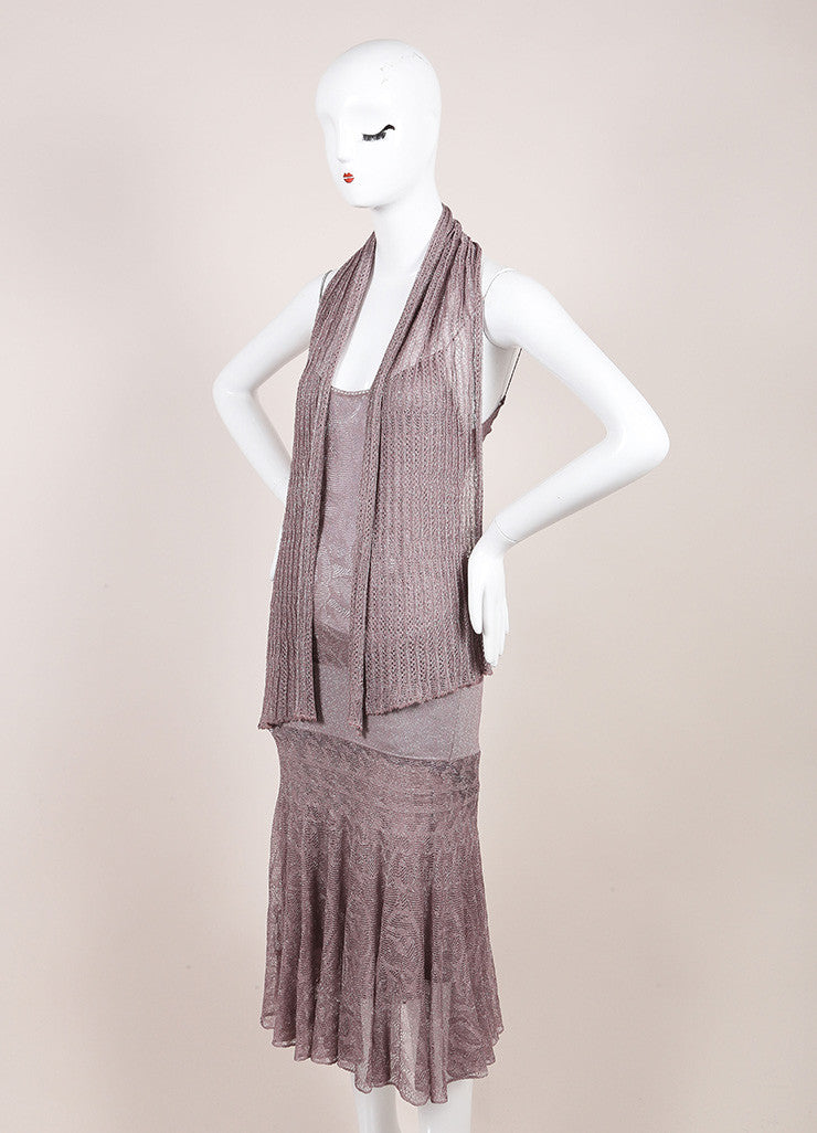 Chanel Metallic Silver and Lavender Knit Sleeveless Dress and Scarf Set Sideview