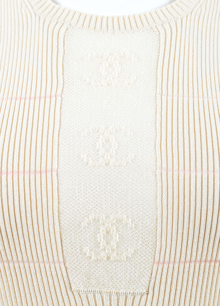 "Chanel Cream and Pink Cotton Blend Knit ""CC"" Sheer Sleeveless Shell Top Detail"