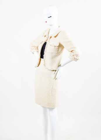 Chanel Cream Tweed Gold Toned Chain Trim Tweed Jacket Skirt Suit Sideview