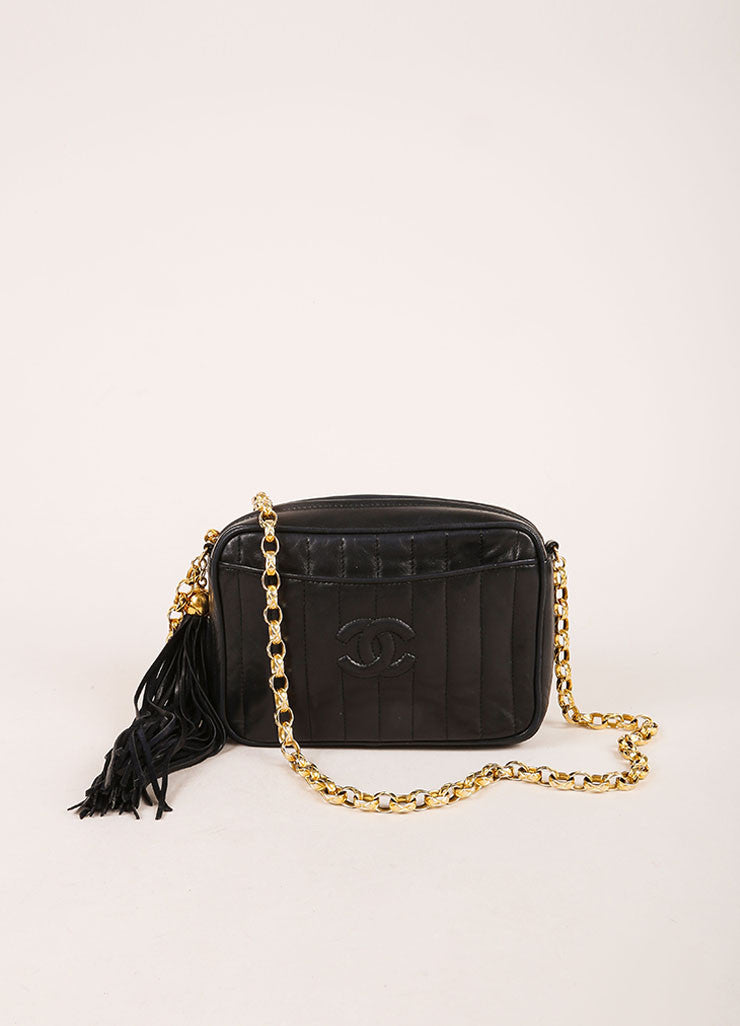 Chanel Black Quilted Leather Tassel Gold Toned Chain Camera Bag Frontview