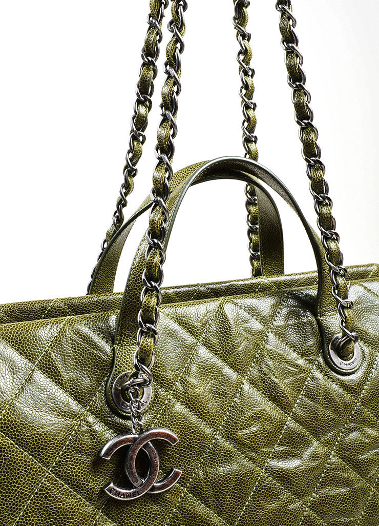 "Olive Green Chanel Caviar Leather Quilted Chain Strap ""Crave"" Tote Bag Detail 2"