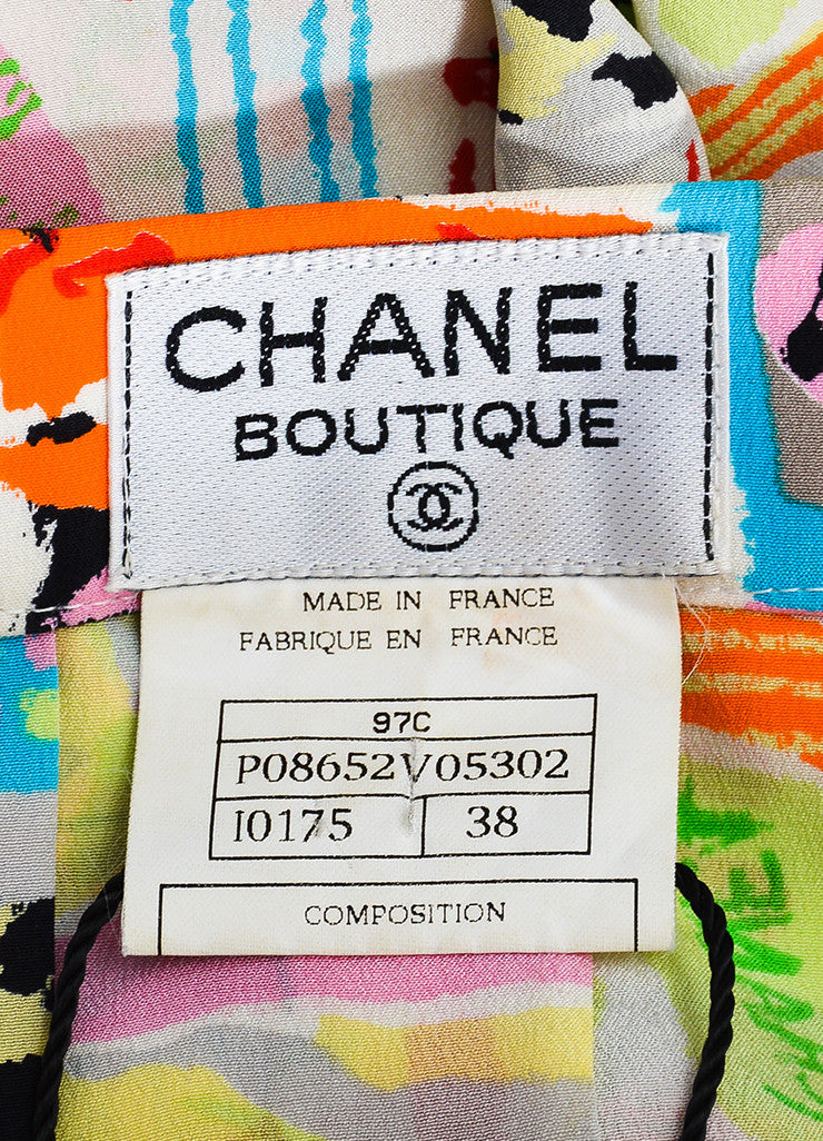 Chanel Multicolor Silk Abstract Paintbrush Print Pleated Skirt Brand