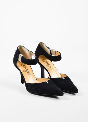 Chanel Black and Brushed Silver Toned Suede 'CC' Buckled Pointed Pumps Frontview