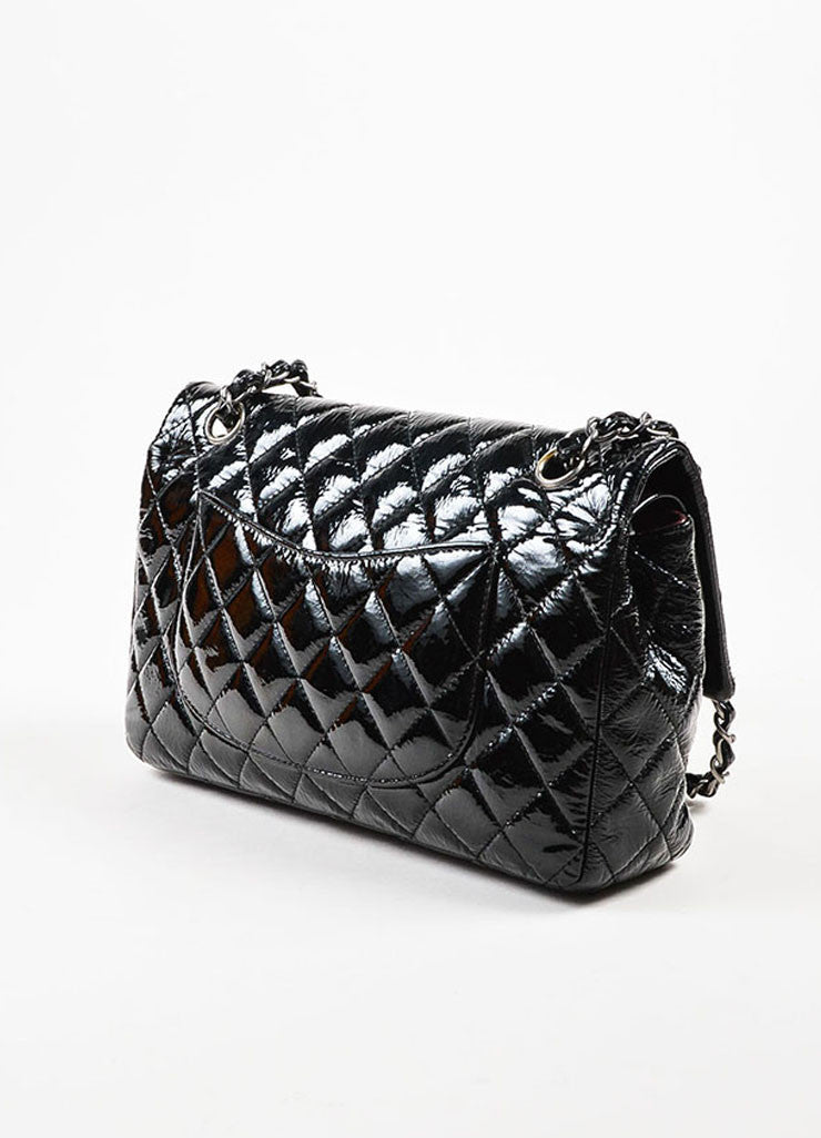 "Chanel Black Cracked Patent Silver Toned Chain ""Medium Classic Double Flap"" Bag Sideview"