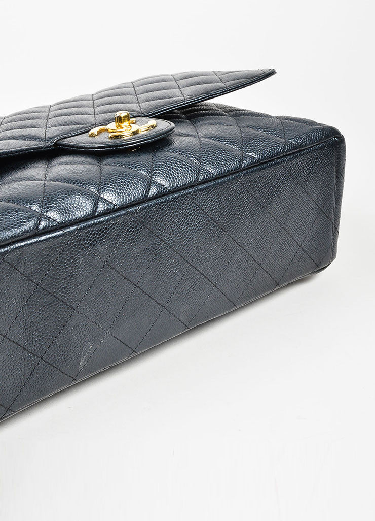Black Chanel GHW Quilted Caviar Leather Classic Maxi Double Flap Bag Bottom View