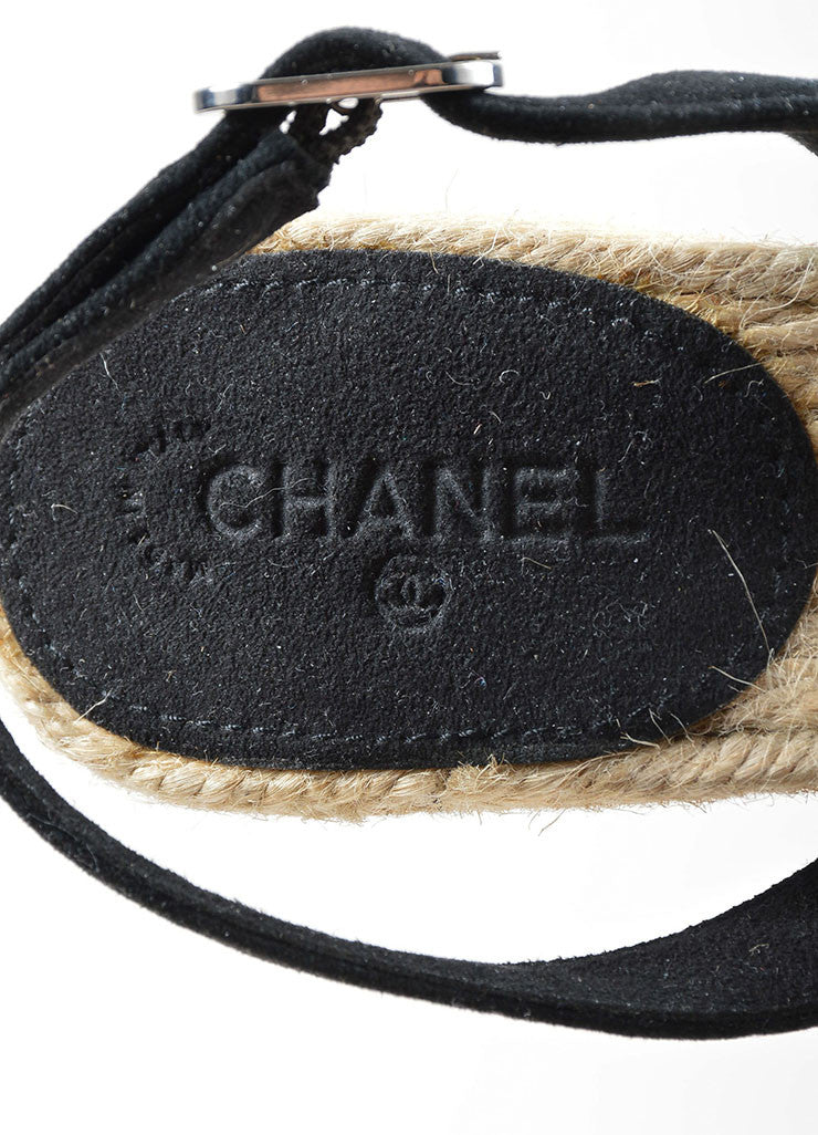 Black Chanel Suede and Patent Leather Camellia Flower Espadrille Trim Wedges Brand