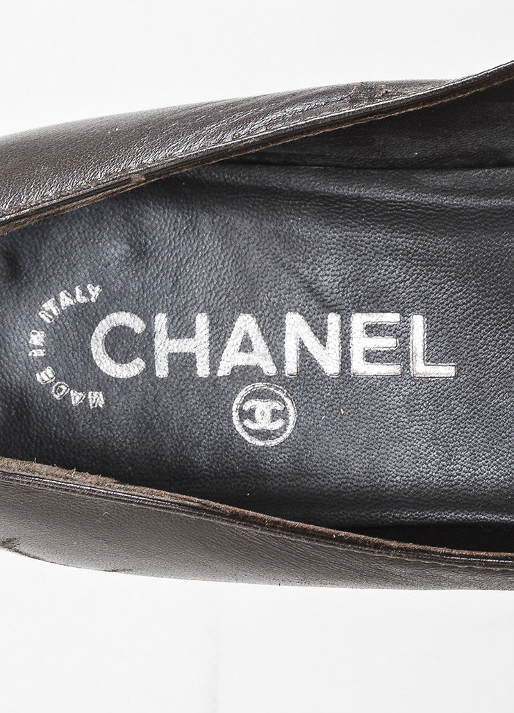 Chanel Brown Leather Chain Detail Cap Toe 'CC' Stitch Ballet Flats Brand