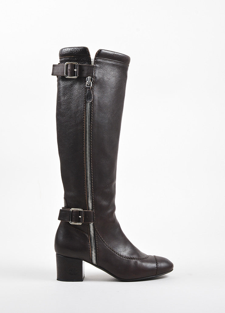 Chanel Brown Leather Dual Buckled Knee High Cap Toe Boots Sideview