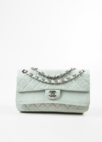 Chanel Mint Distressed Quilted Leather Medium Double Flap Chain Shoulder Bag Frontview
