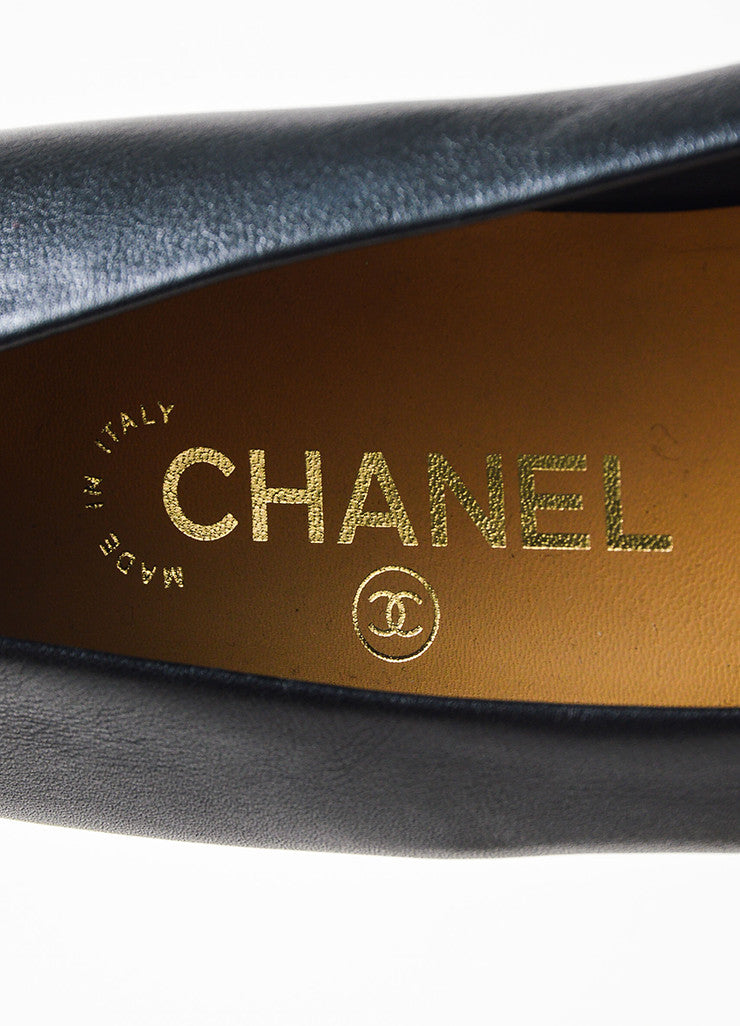 Chanel Black Leather Bow Cap Toe GHW 'CC' Ballerina Flats Brand