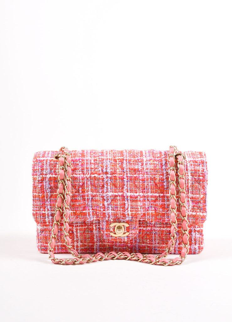 Chanel Pink And Multicolor Gold Tone Tweed Quilted Medium Double Flap Bag Frontview