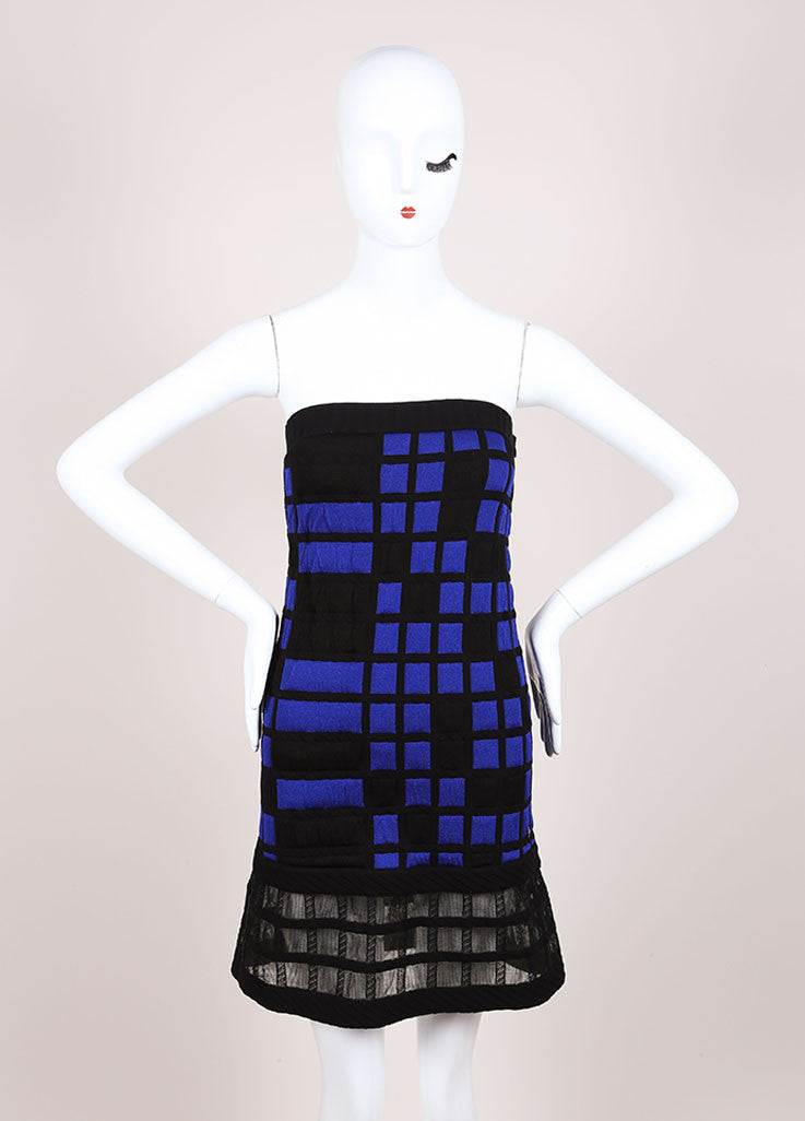 Chanel Blue and Black Knit Checkered Color Block Mesh Trim Strapless Dress Frontview