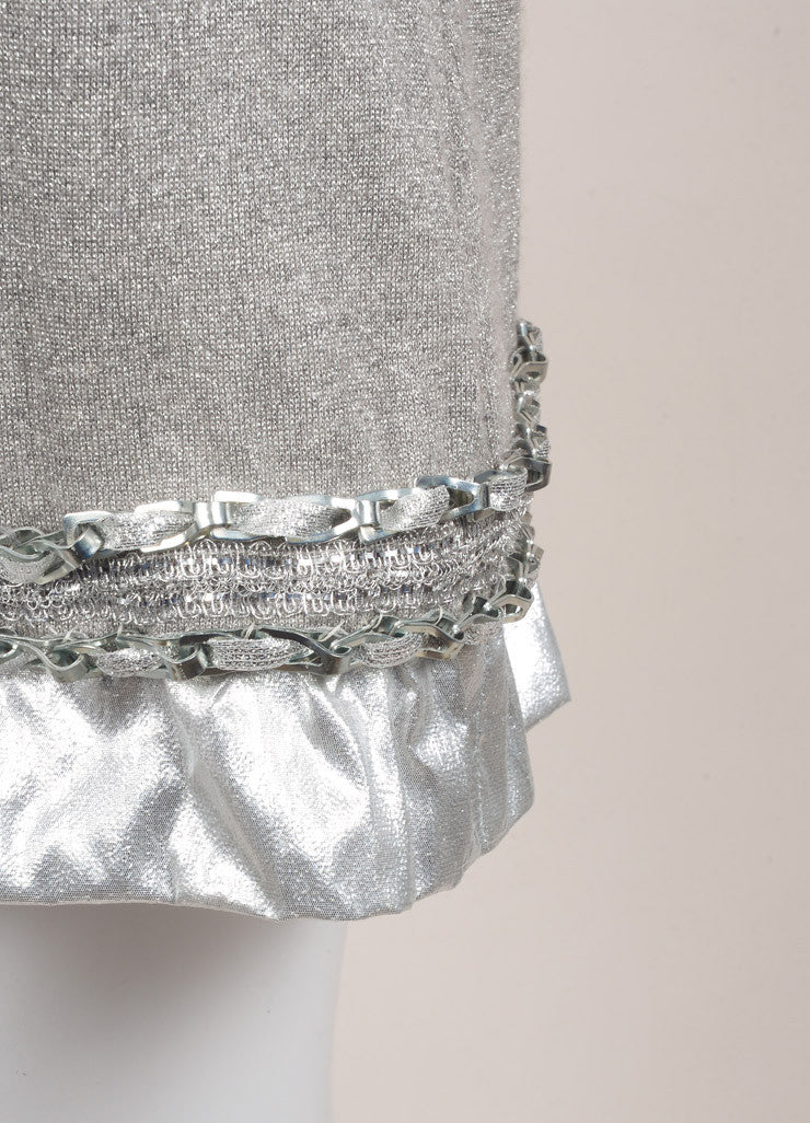 Chanel Silver Metallic Ribbed Knit Chain Link Trim Long Sleeve Sweater Dress Detail