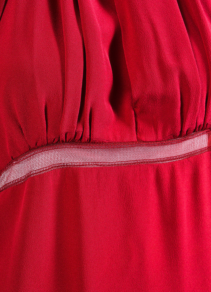 Chloe Red Crepe Sheer Stripe Panel Keyhole Halter Tie Matching Shawl Sleeveless Dress Detail