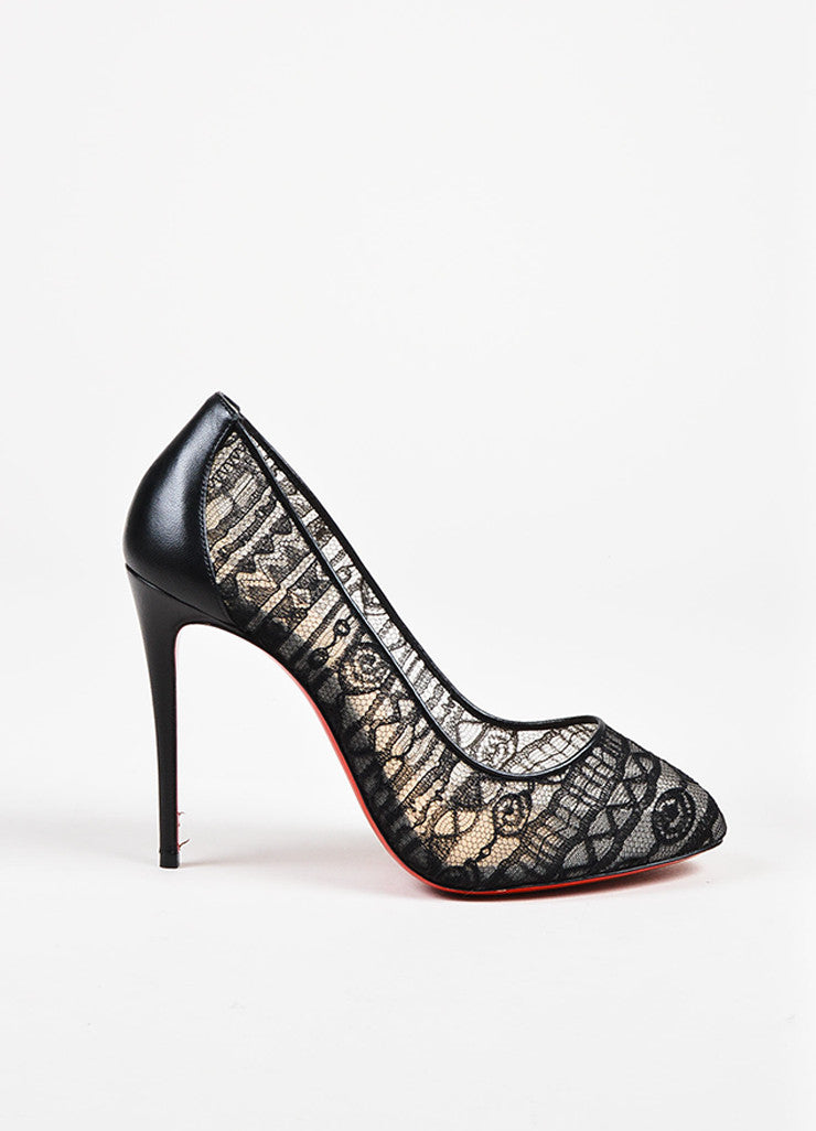 "Christian Louboutin Black Lace and Leather ""Dorissima Dentelle"" Pumps Sideview"