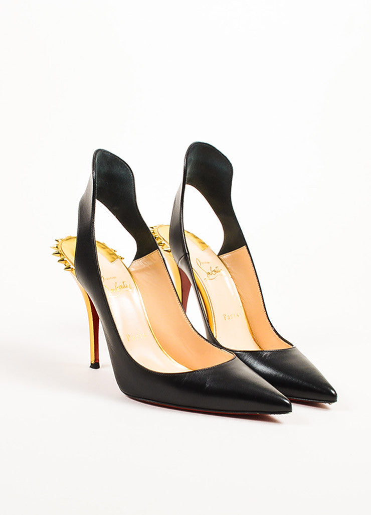 "Christian Louboutin Black and Gold Leather Spiked ""Survivita 100"" Pumps Frontview"