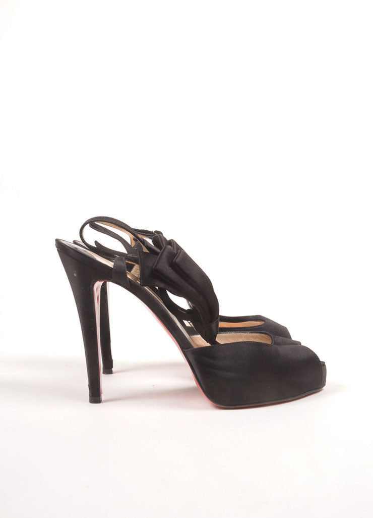 "Christian Louboutin Black Satin Platform T-Strap Bow ""Ernesta"" Sandals Sideview"