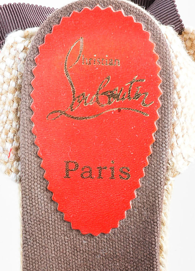 "Christian Louboutin Brown and Beige Canvas Round Toe ""Bridgette"" Espadrille Wedges Brand"