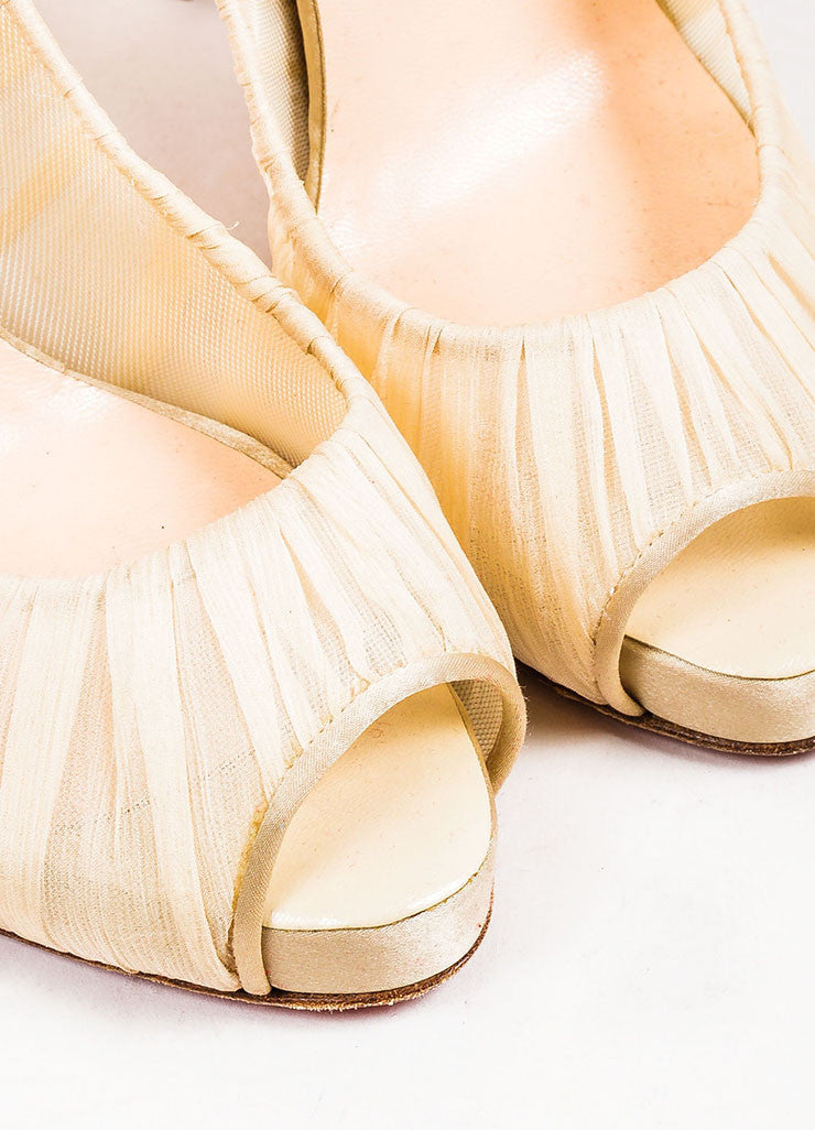 "Cream Christian Louboutin Chiffon Satin Trim Peep Toe ""Very Prive"" Pumps Detail"