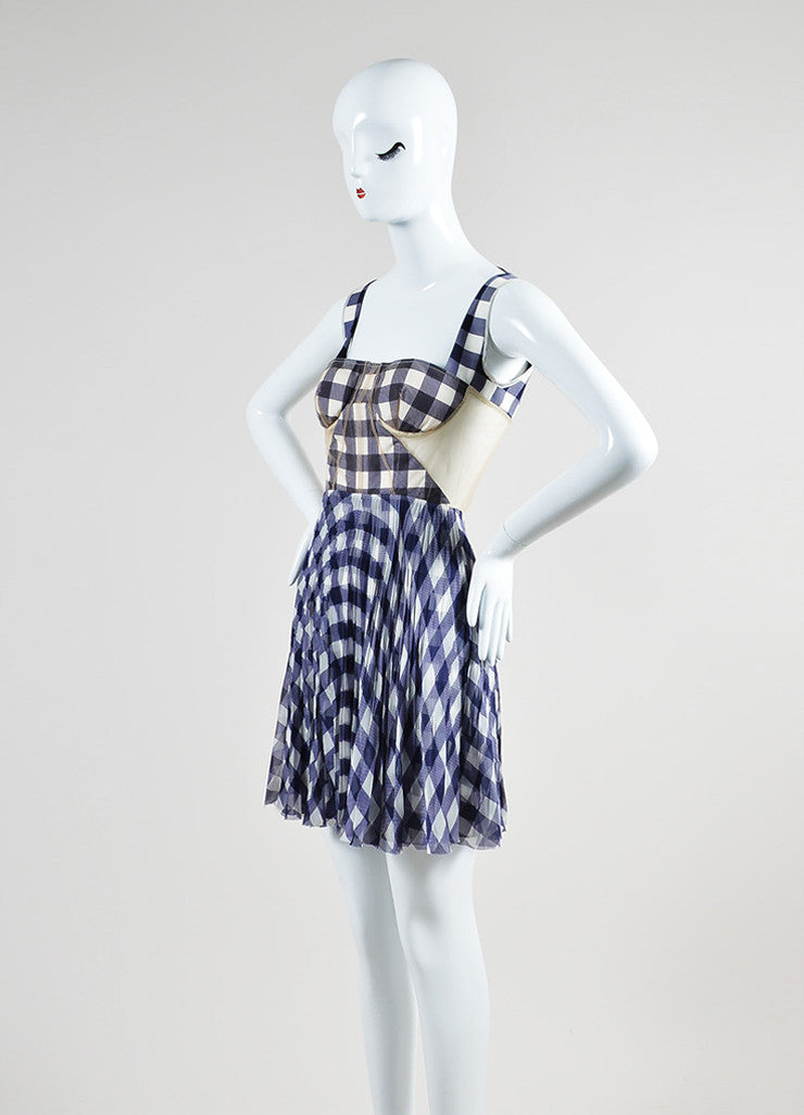 Purple and White Christopher Kane Silk Mesh Gingham Open Back Bustier Dress Sideview