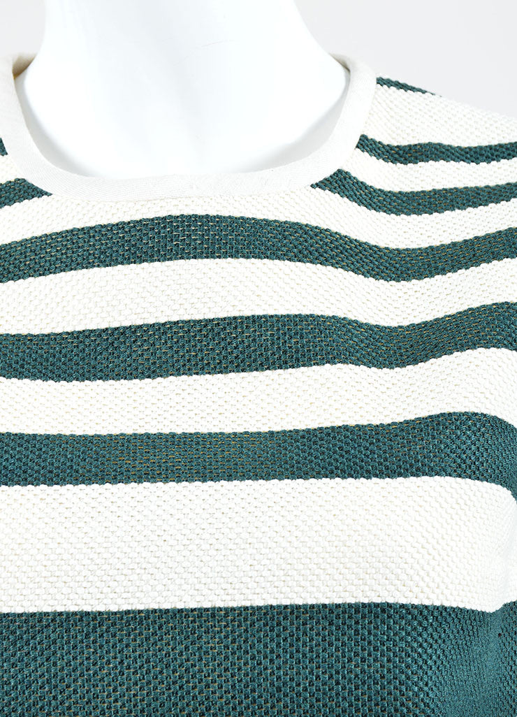Cream and Green Derek Lam Woven Knit Striped Sleeveless Shift Top Detail