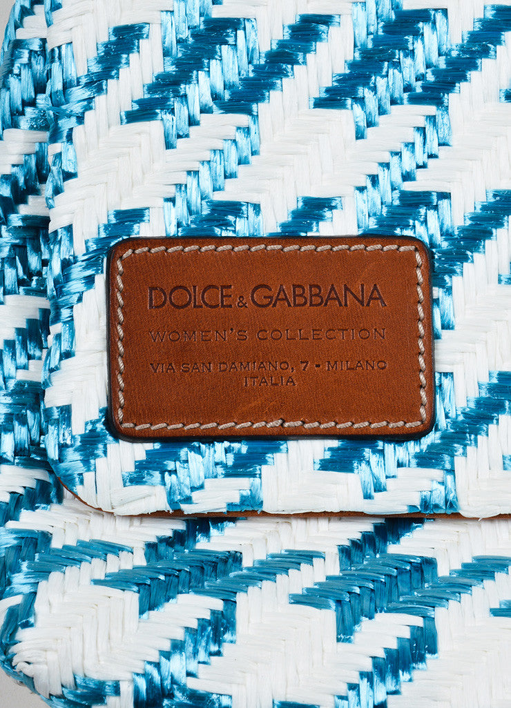 "Blue and White Dolce & Gabbana Raffia Houndstooth ""Miss Escape"" Shoulder Bag Brand 2"