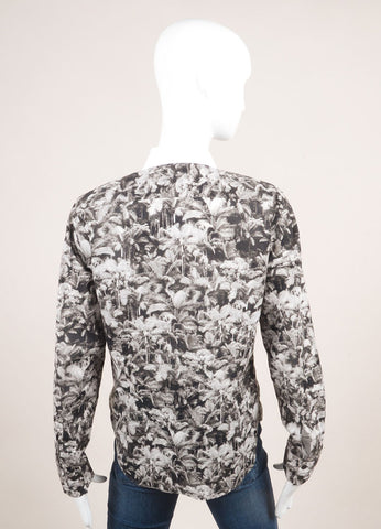 Dries Van Noten Black and White Cotton Palm Tree Print Button Down Long Sleeve Top Backview