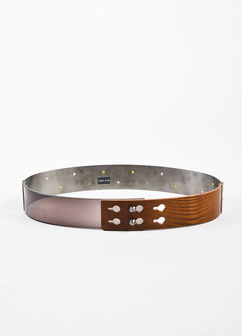Brown and Silver Fendi Mixed Media Spike Studded Waist Belt Front