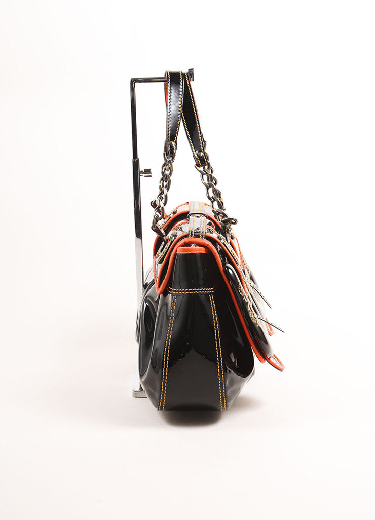 "Fendi Black and Red Patent Leather Acrylic Filigree Buckle ""B."" Bag Sideview"