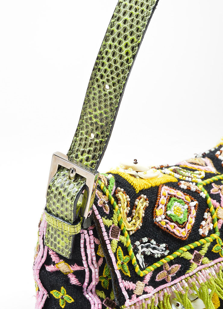 Black, Green, and Pink Fendi Lizard Skin Beaded and Embroidered Baguette Shoulder Bag Detail 2