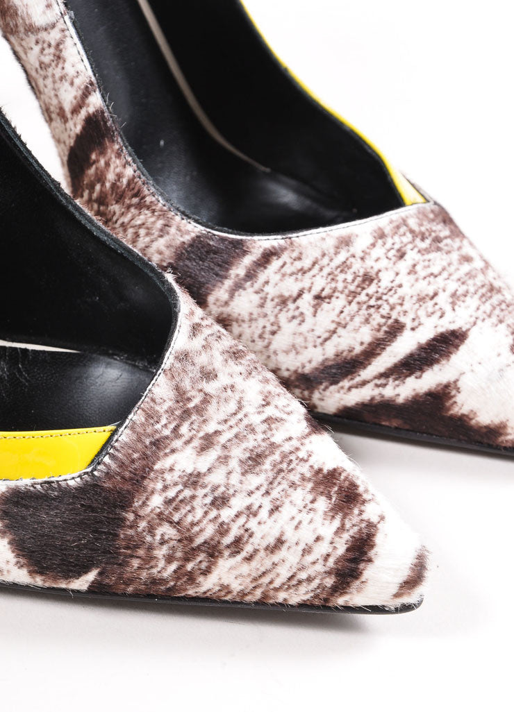 Fendi New In Box White, Brown, and Yellow Pony Hair Animal Print Patent Trim Pumps Detail