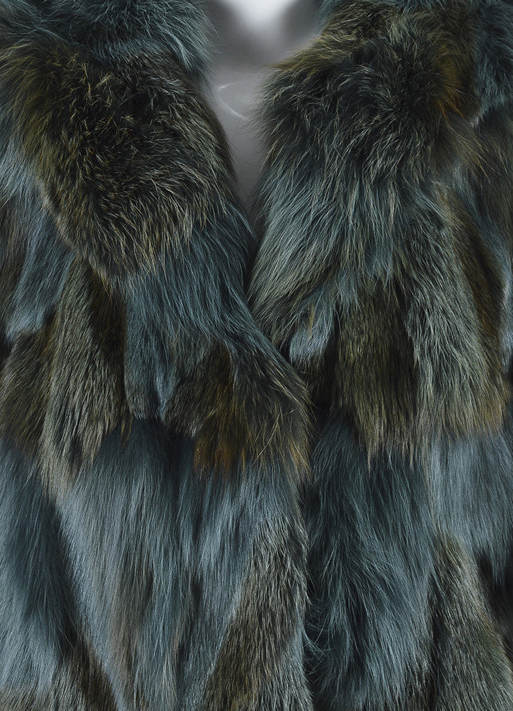 Feraud Blue and Brown Fur Sleeveless Hooded Cape Detail