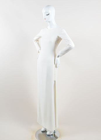 Gianni Versace Cream Silk Open Back Long Sleeve Gown Side