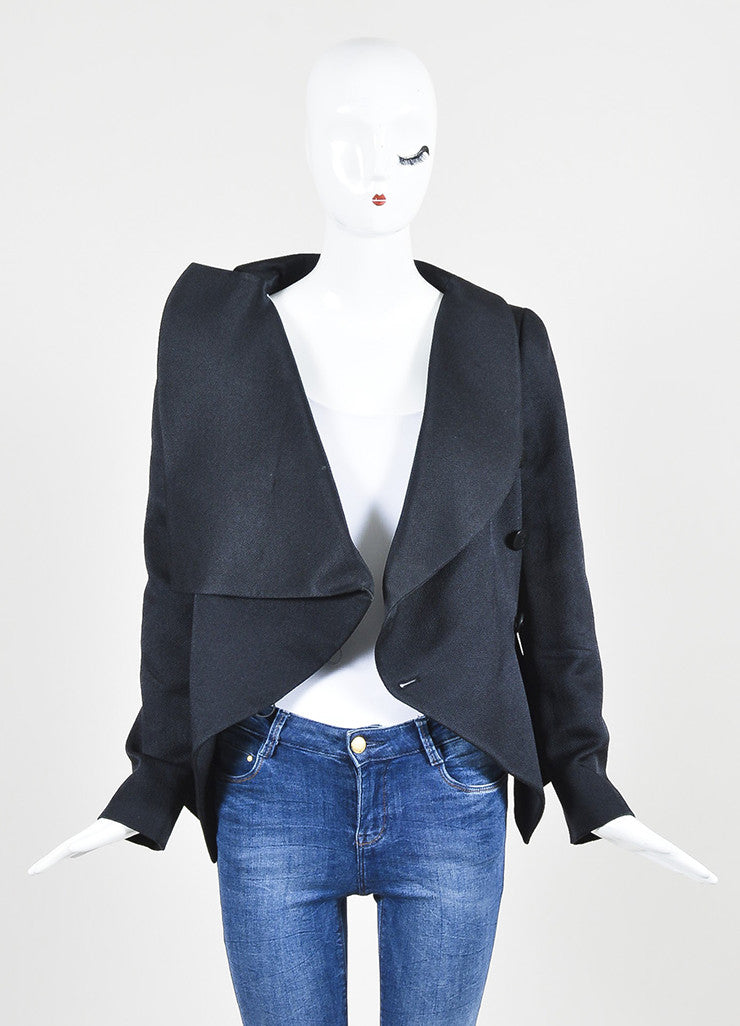 Navy Giorgio Armani Wool and Silk Textured Statement Collar Tailored Blazer Frontview