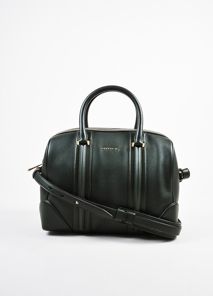 "Givenchy Dark Olive Green Leather Paneled ""Medium Lucrezia"" Duffel Bag Frontview"