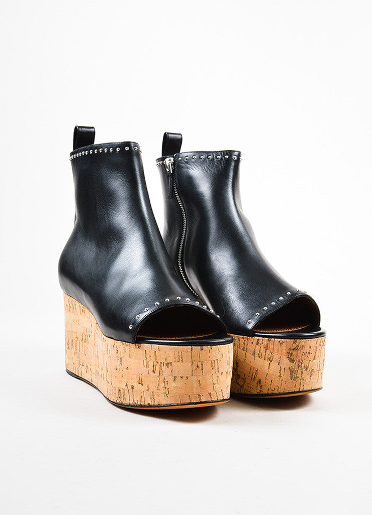 Givenchy Black Leather and Cork Platform Wedge Open Toe Booties Frontview