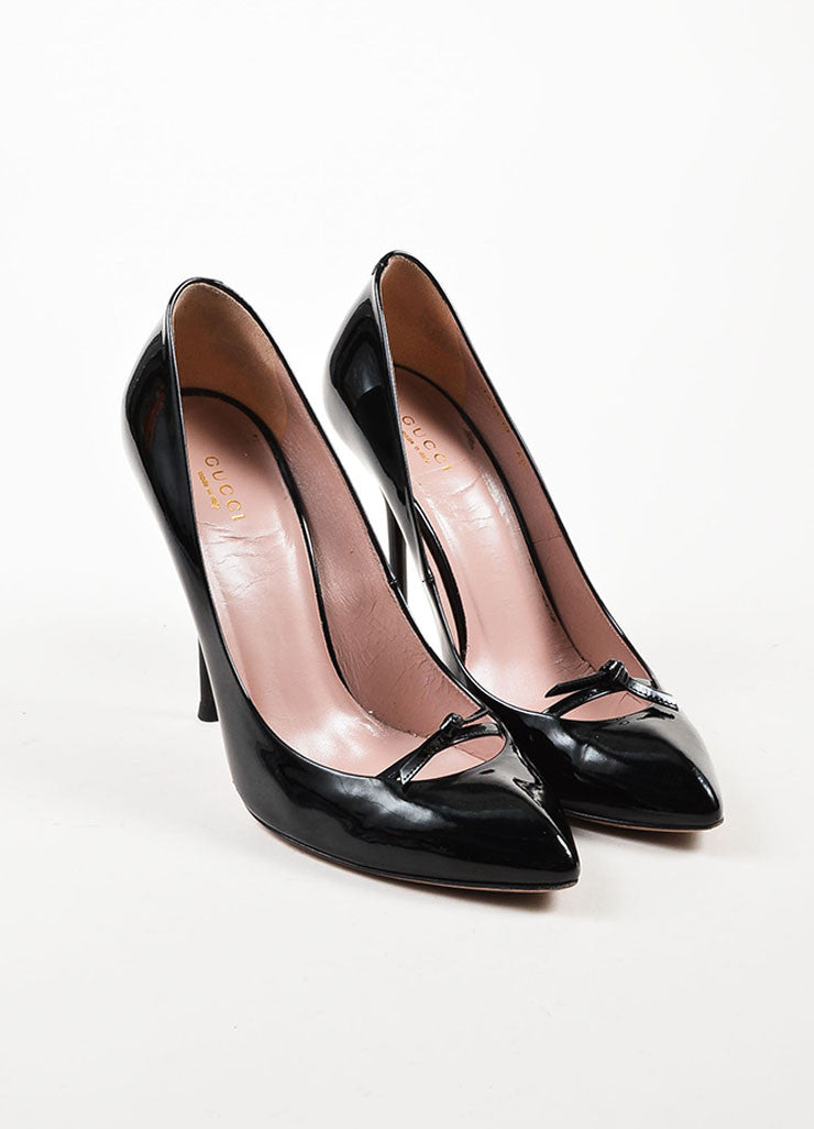 Gucci Black Patent Leather Bow Detail Pointed Toe Stilettos Frontview