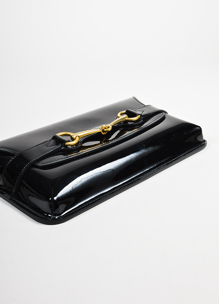 "Gucci Black Patent Leather Gold Tone Horsebit Flap ""Bright Bit"" Clutch Detail"
