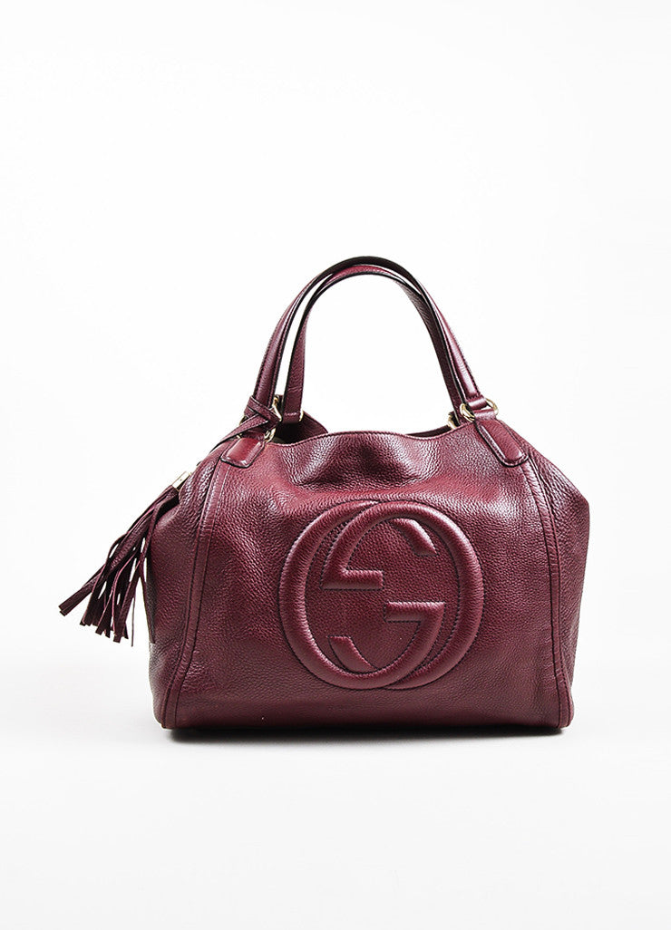 "Maroon Gucci Leather Embossed 'GG' Tassel ""Soho Working"" Tote Bag Front"