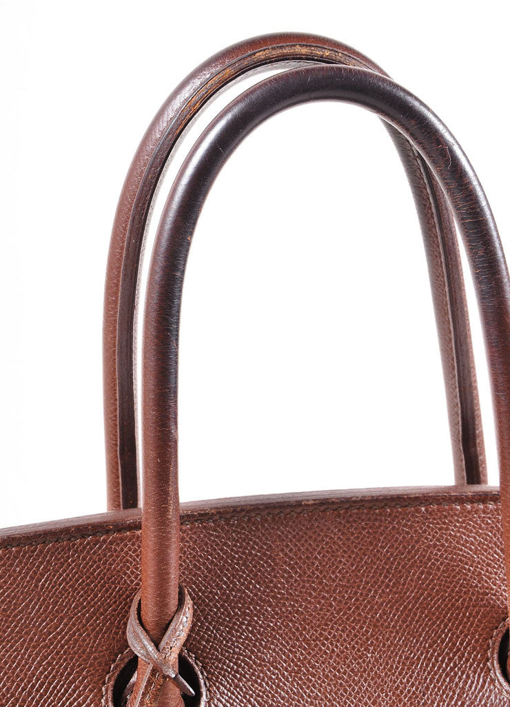 "Brown and Gold Toned Epsom Leather ""Birkin"" Handbag"
