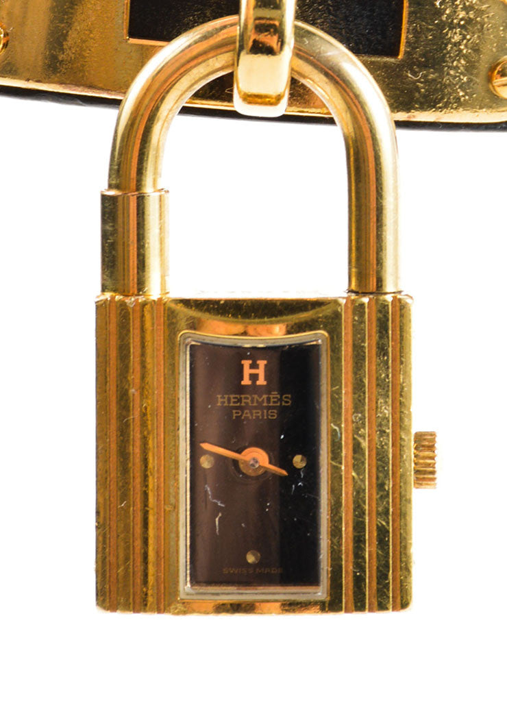 "Hermes Black and Gold Plated Steel Barenia Leather Padlock ""Kelly"" Watch Detail"