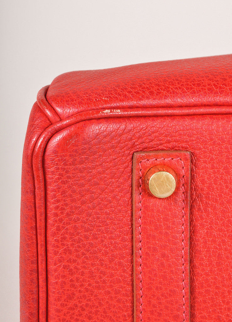 "Hermes Red and Gold Toned ""Rouge Garance"" Buffalo Skipper Leather 35cm Birkin Bag Detail"