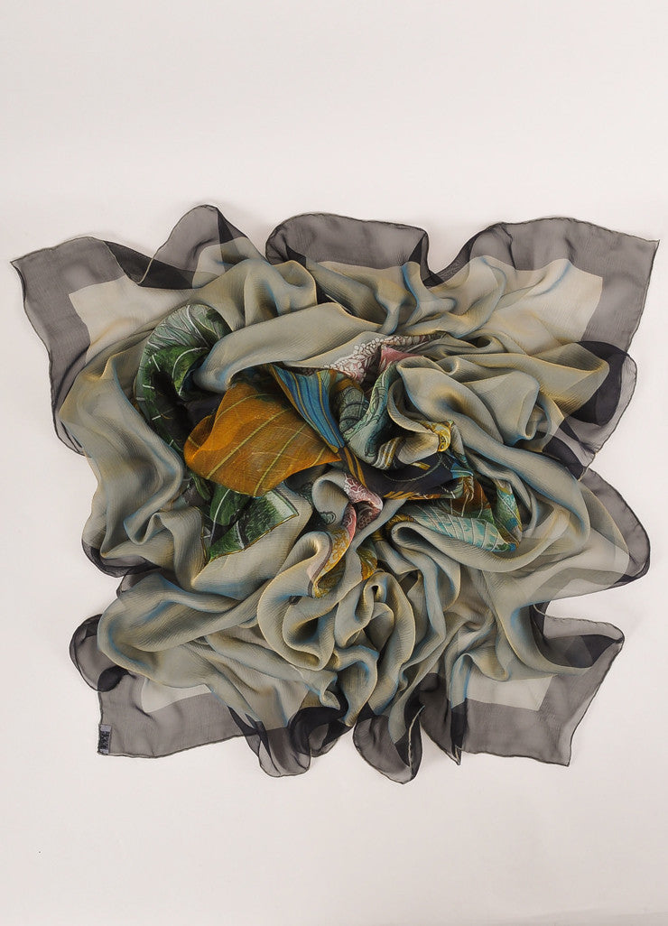 Hermes Grey, Black, and Green Silk Chiffon Equestrian Print Scarf Frontview