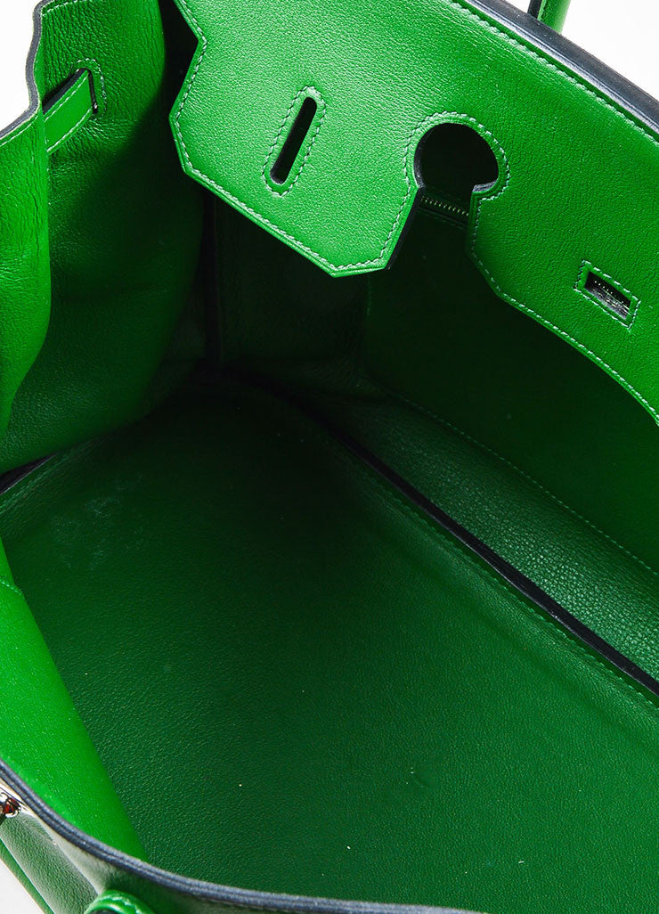 "Hermes Green SHW ""Vert Bengale"" Veau Swift Leather 35 cm ""Birkin"" Bag Interior"