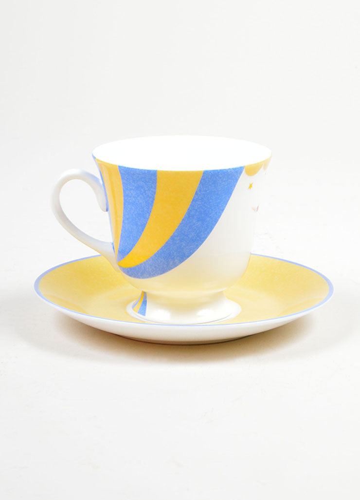 "White, Yellow and Blue Hermes Porcelain ""Le Clown"" Circus Teacup & Saucer"