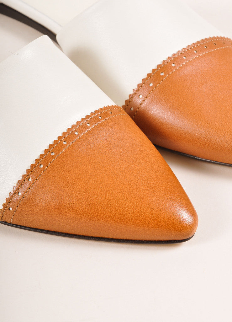 Jenni Kayne New In Box White and Cognac Leather D'Orsay Pointed Toe Flats Detail