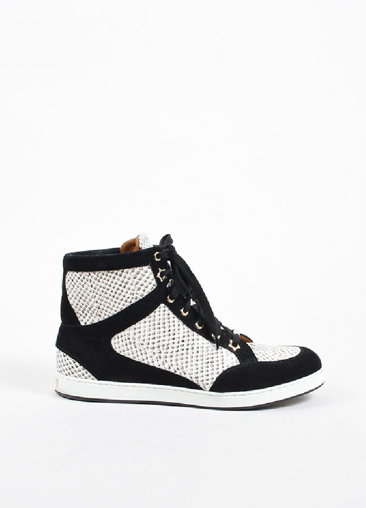 "Jimmy Choo Black and White Suede Snake Embossed High Top ""Tokyo"" Sneakers Sideview"