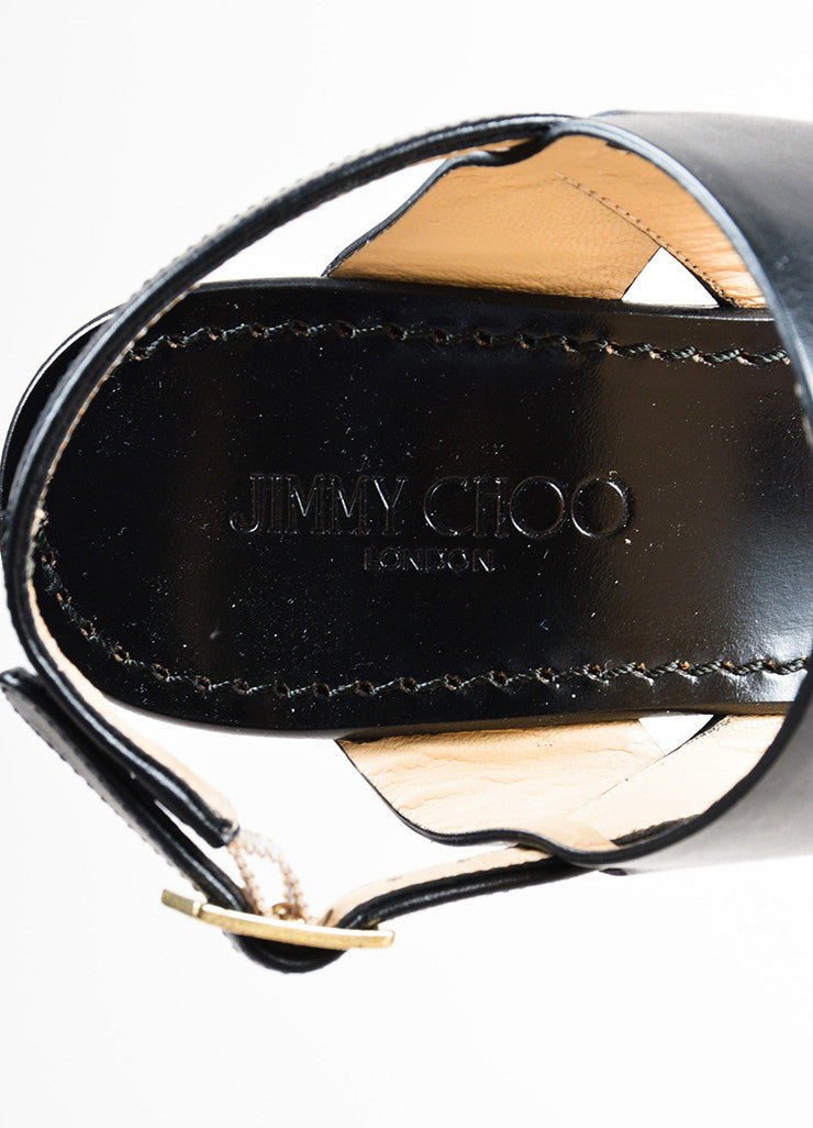 "Black and Brown Jimmy Choo Leather Stack Wedge ""Notion 130"" Sandals Brand"