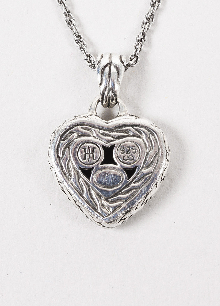 John Hardy Sterling Silver & Black Sapphire Heart Shaped Necklace Detail 2