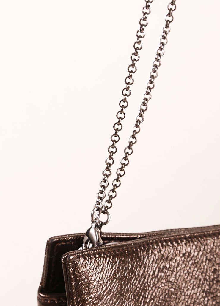 Judith Leiber New With Tags Bronze Metallic Chain and Rhinestone Trim Leather Clutch Bag Detail 2
